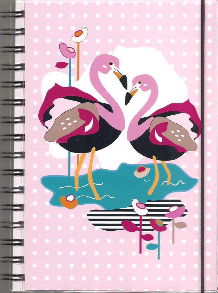"Anteckningsbok ""Flamingo"" rosa/flerfärgad, blanka sidor"