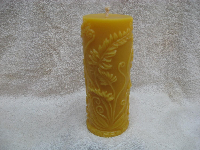 Rustic Fern Pillar Candle