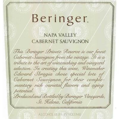 Beringer Cabernet Sauvignon Private Reserve 1986