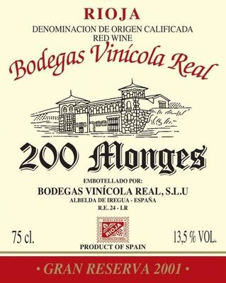 Bodegas Vinicola Real 200 Monges Gran Reserva 2001