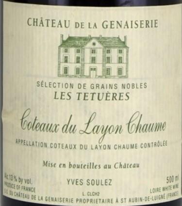 Chateau de la Genaiserie Coteaux du Layon Chaume les Tetueres 1995 (500ml)