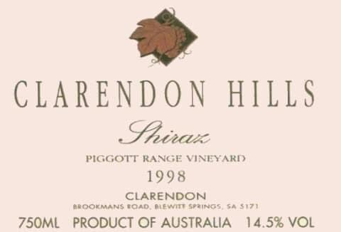 Clarendon Hills Piggot Range Vineyard Shiraz 1998