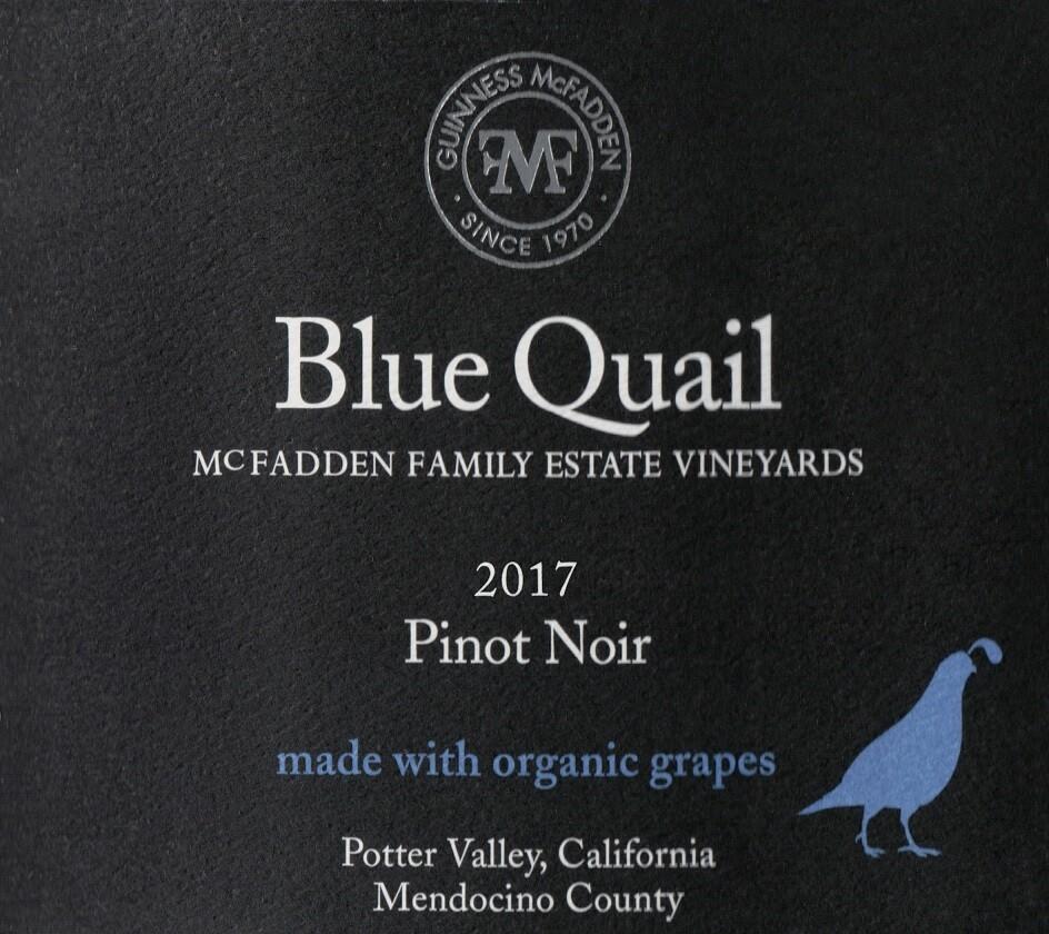 Blue Quail Pinot Noir Potter Valley 2017