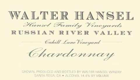 Walter Hansel Chardonnay Cahill Lane 2017
