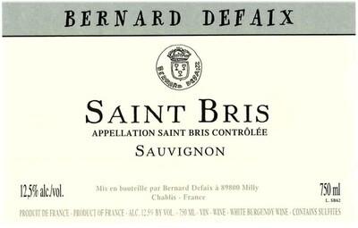 Domaine Bernard Defaix Saint-Bris Sauvignon Blanc 2018 *SALE*