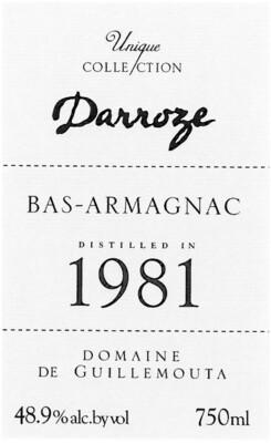 Francis Darroze Armagnac Chateau de la Guillemouta 1981