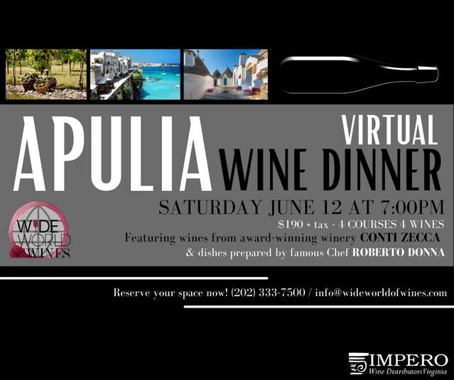 Virtual Apulia Wine Dinner w/Chef Roberto Donna