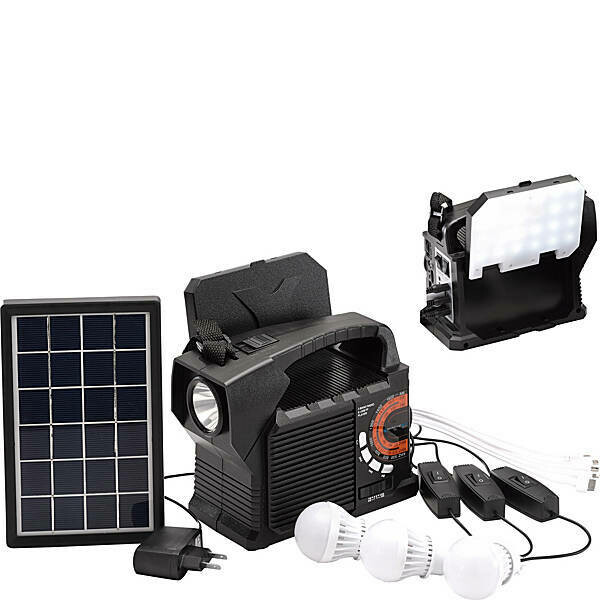 SolarBox 9 9-in-1 Solar-powered Bluetooth Speaker lighting unit with power bank & radio