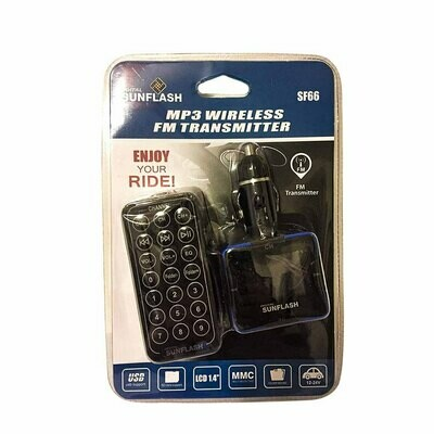 "DIGITAL SUNFLASH SF66 CAR AUDIO MP3 USB FM TRANSMIITTER 1.4"" LCD SCREEN DISPLAY"