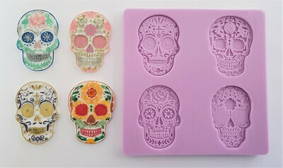 HALLOWEEN DAY OF THE DEAD FLORAL SKULLS SET OF 4 SILICONE MOULD