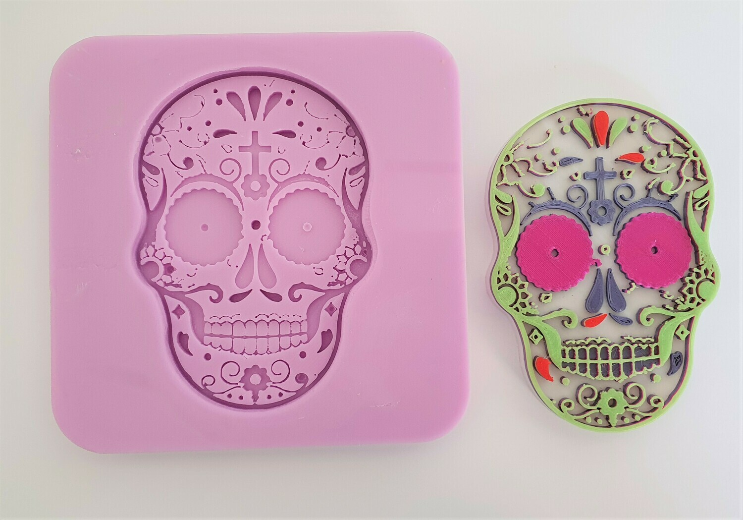 HALLOWEEN DAY OF THE DEAD FLORAL SKULL SILICONE MOULD