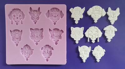 NEW PAW PATROL FACES SILICONE MOULD