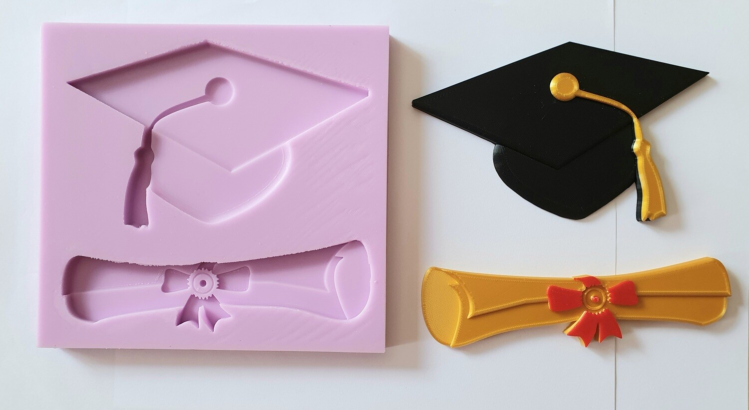 LARGE GRADUATION HAT & SCROLL SET SILICONE MOULD