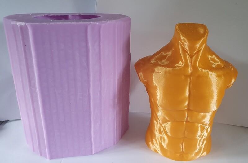 LARGE 6 INCH 3D MALE TORSO SILICONE MOULD
