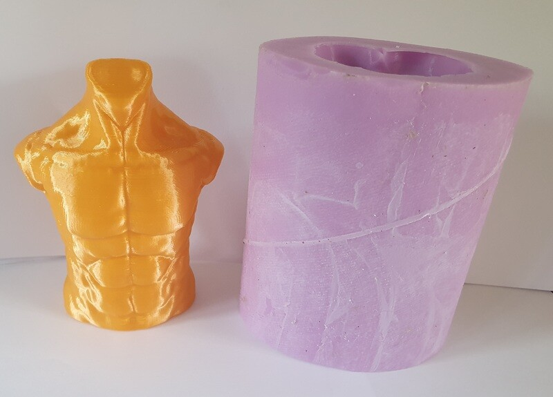 4 INCH 3D MALE TORSO SILICONE MOULD