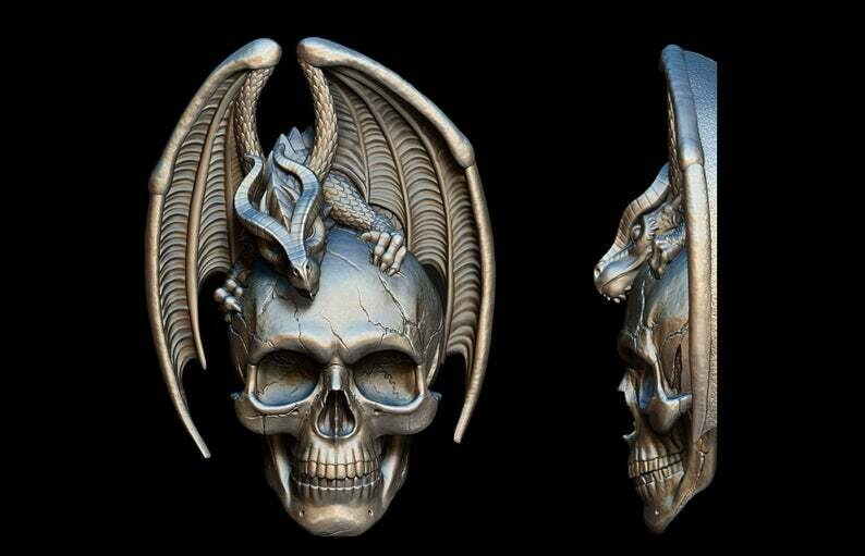 SMALL DRAGON ON SKULL SILICONE MOULD