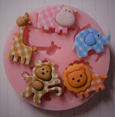 BABY GINGHAM ANIMALS SET SILICONE MOULD
