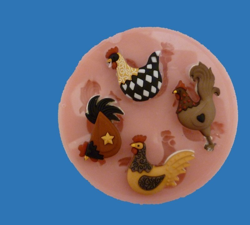 COCKERELS / HENS AND CHICKENS SILICONE MOULD