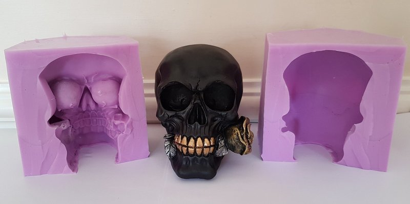 3D LARGE SKULL WITH ROSE SILICONE MOULD
