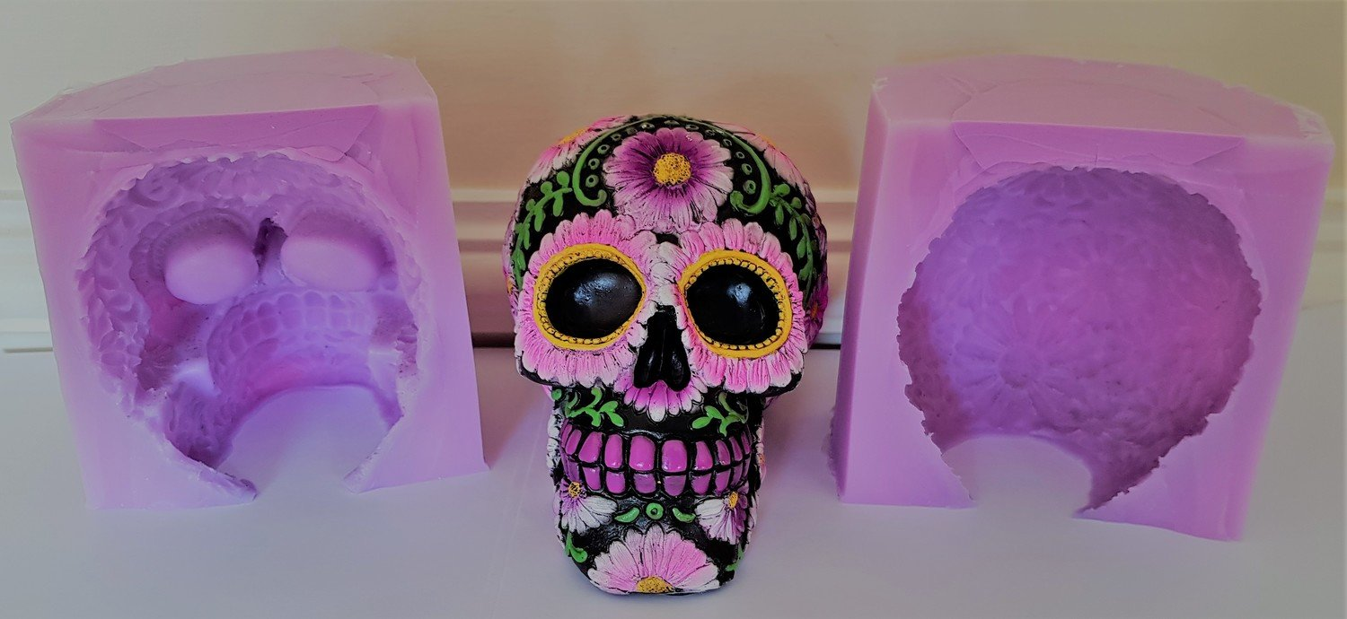 3D LARGE FLORAL SKULL SILICONE MOULD