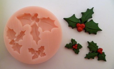 HOLLY TRIO CHRISTMAS SILICONE MOULD