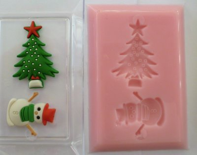 SNOWMAN AND TREE HOUSE CHRISTMAS SILICONE MOULD