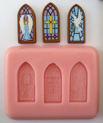 STAINED GLASS WINDOWS CHRISTMAS SILICONE MOULD