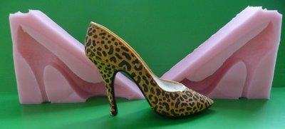 3D HIGH HEELED POINTED TOE SHOE leopard print SILICONE MOULD