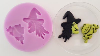 Witch and Frog Silicoen Mould