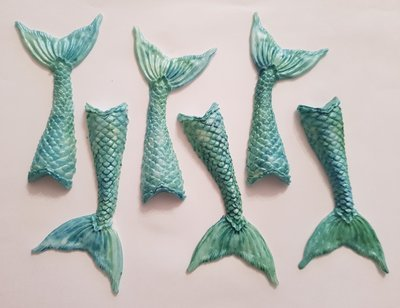 6 X MERMAID TAILS EDIBLE CAKE TOPPERS