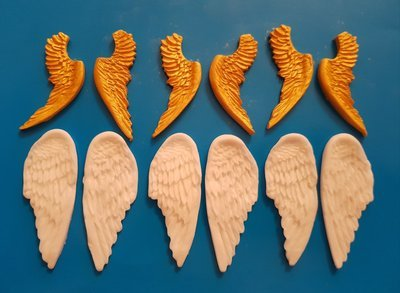 6 PAIRS OF ANGEL WING EDIBLE CAKE TOPPERS