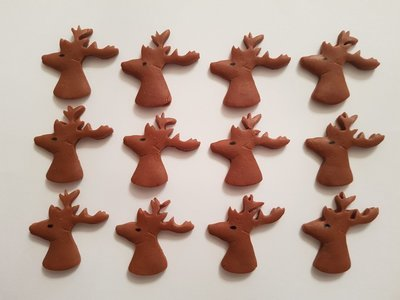 12 STAG HEADS EDIBLE CAKE TOPPERS