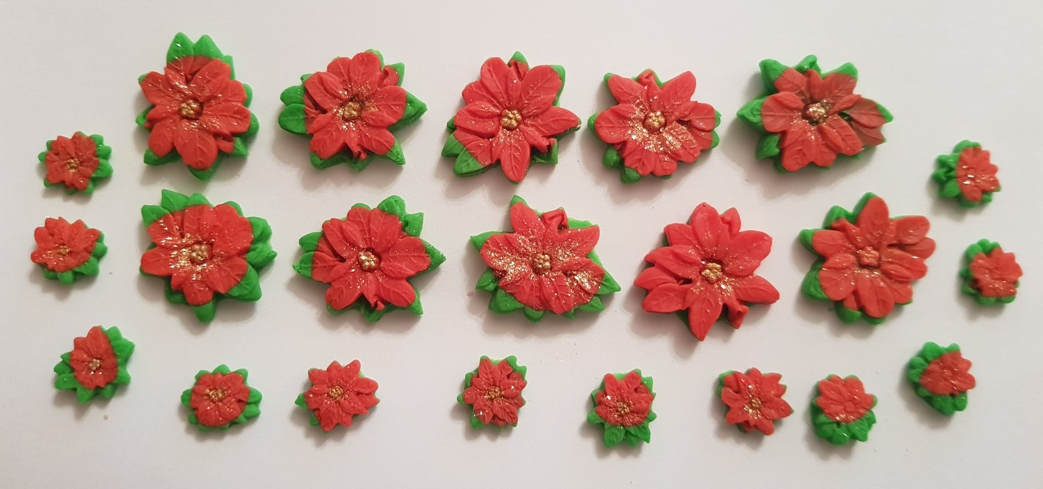 20 POINSETTAS EDIBLE CAKE TOPPERS