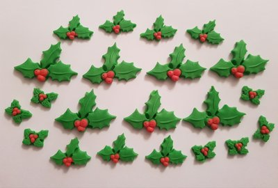 20 HOLLY & BERRIES CHRISTMAS EDIBLE CAKE TOPPERS