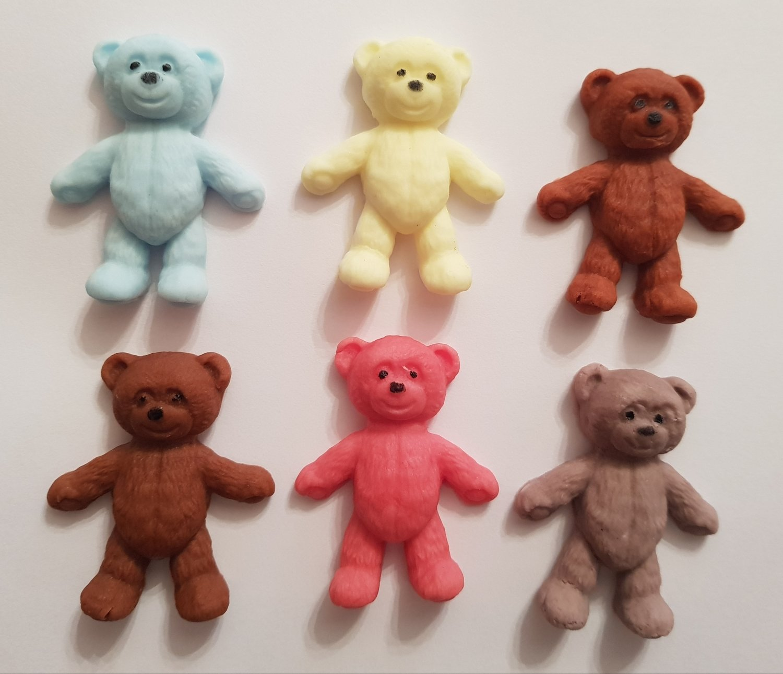 6 TEDDY BEARS EDIBLE CAKE TOPPERS