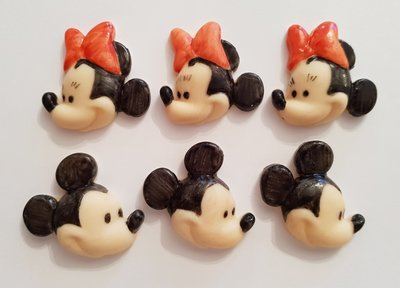 6 MICKEY AND MINNIE MOUSE FACES EDIBLE CAKE TOPPERS