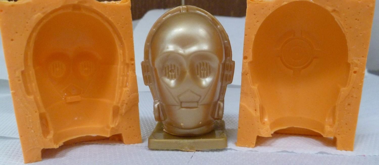 3D C3P0 HEAD SILICONE MOULD