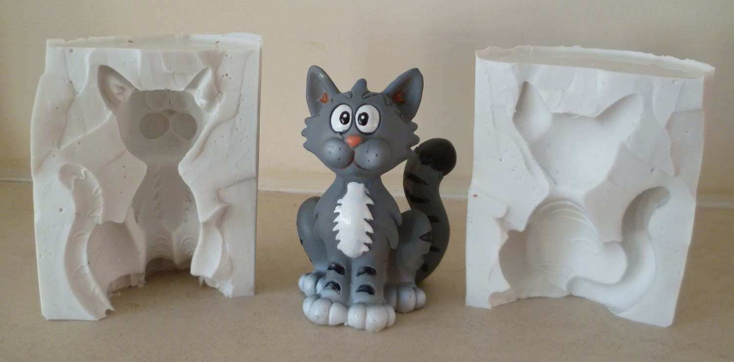 3D GREY CAT SILICONE MOULD