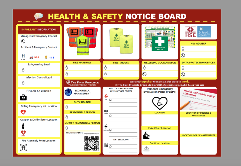 General Health & Safety Notice Board for Care Homes