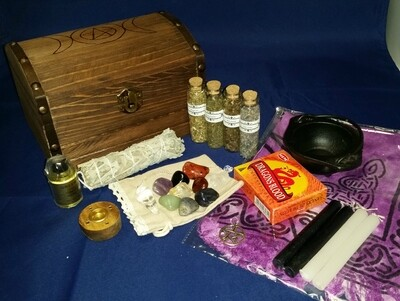 Z - Triple Moon Box Witch Travel Alter / Starter Kit with Custom Wood Burned Triple Moon Box