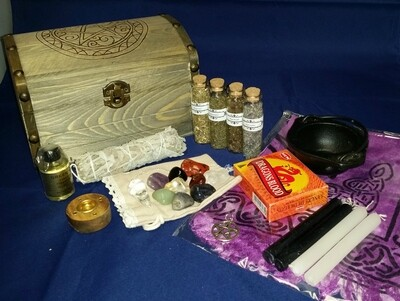 Z - Witch Travel Alter / Starter Kit with Custom Wood Burned Pentacle Box
