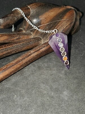 Amethyst Pendulum with Chakra Stones