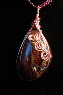 """Black Amber with Copper Swirls Necklace """"the Transmutation Stone"""""""