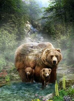 Call of the Wild Mother Bear & Cubs Grizzly - Hoffman Fabrics - PANEL