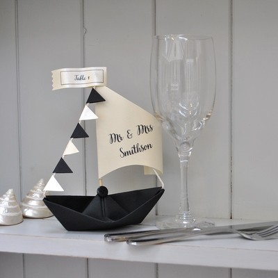 Personalised Place Card Setting Sail Boats