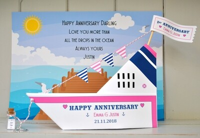 Personalised Cruise Ship 3D Greetings Card