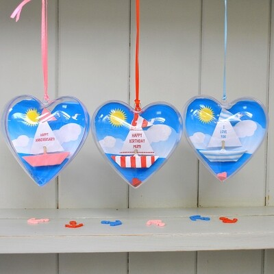 Personalised Message Sail Boat Hanging Heart Keepsake