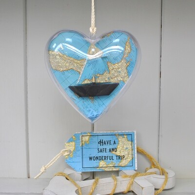 Coastal Map Sail Boat Heart