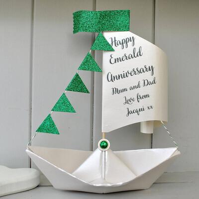 55th Emerald Wedding Anniversary Sail Boat Card