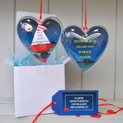 Personalised Valentine's Moonlit Sail Boat Message Heart